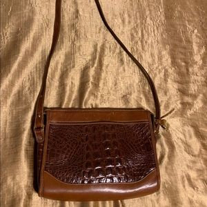 Brahmin Crocodile Crossbody Bag Two Tone Brown